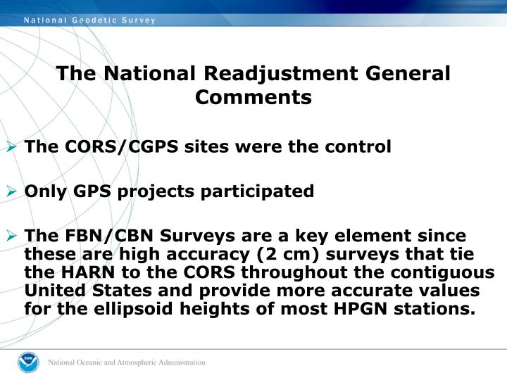 The National Readjustment General Comments