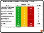 achievement status summary fy 2010 11