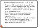 financial performance fy 2010 11