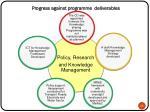 progress against programme deliverables1