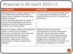 response to ag report 2010 11