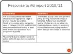 response to ag report 2010 111