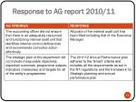 response to ag report 2010 112