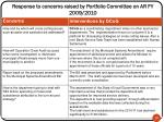 response to concerns raised by portfolio committee on ar fy 2009 2010