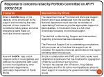 response to concerns raised by portfolio committee on ar fy 2009 20101