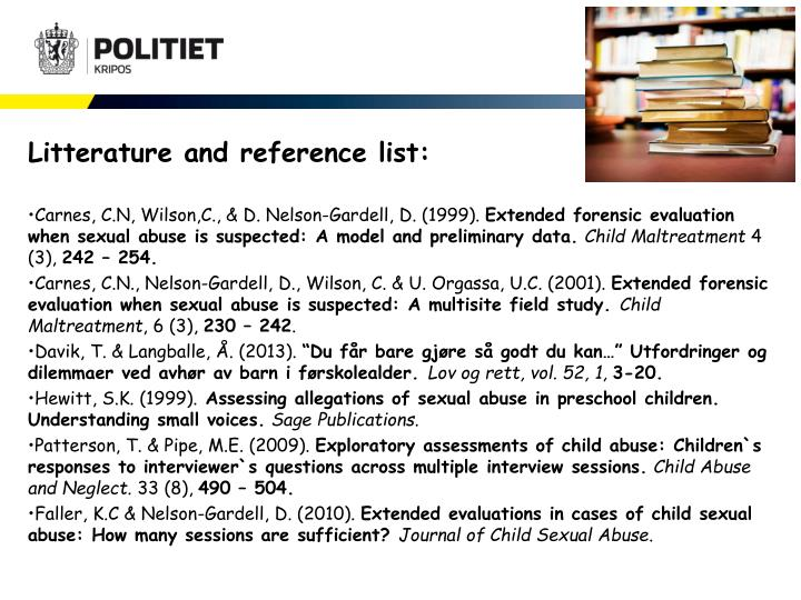 Litterature and reference list: