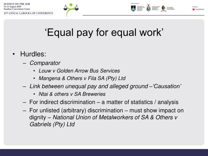 'Equal pay for equal work'
