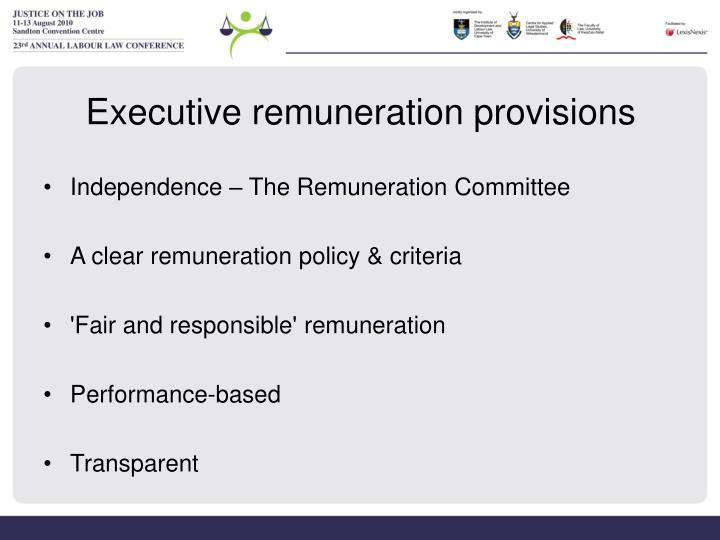 Executive remuneration provisions