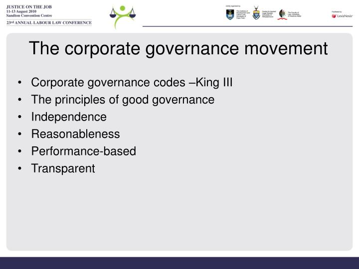 The corporate governance movement