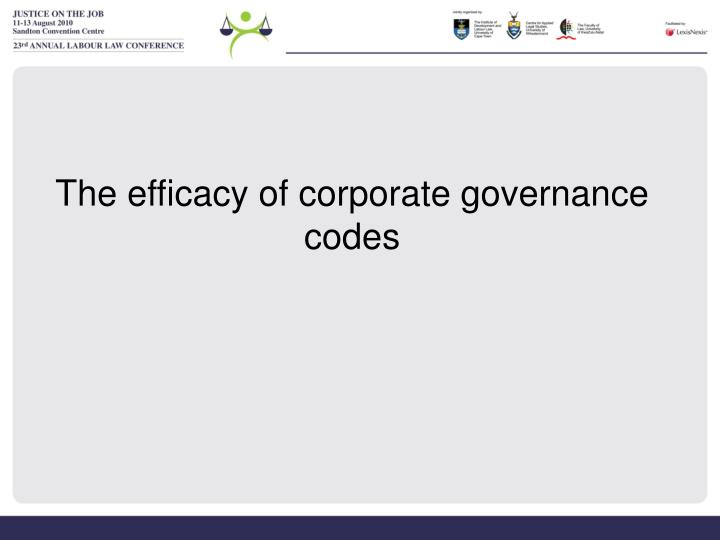 The efficacy of corporate governance codes