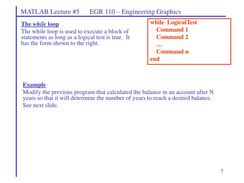 PPT - MATLAB Lecture #5 EGR 110 – Engineering Graphics PowerPoint