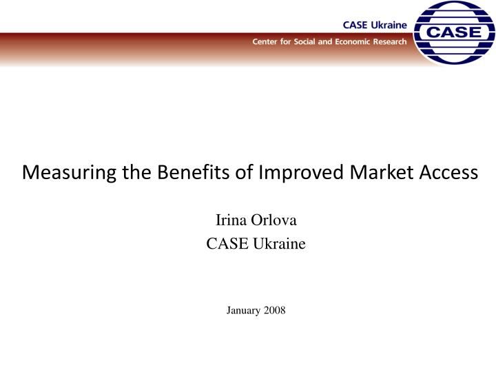 measuring the benefits of improved market access n.