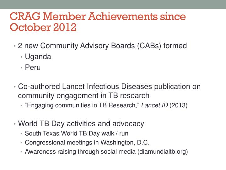 CRAG Member Achievements since October 2012