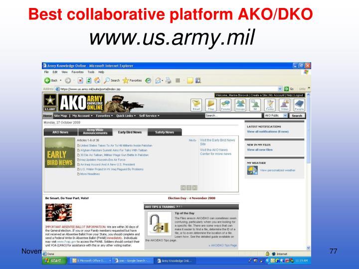 Best collaborative platform AKO/DKO