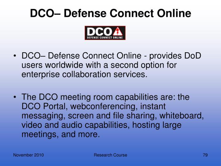 DCO– Defense Connect Online