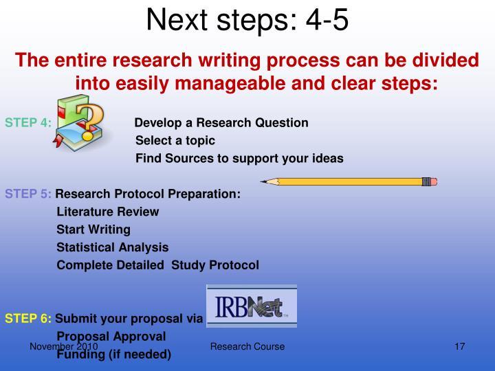 Next steps: 4-5