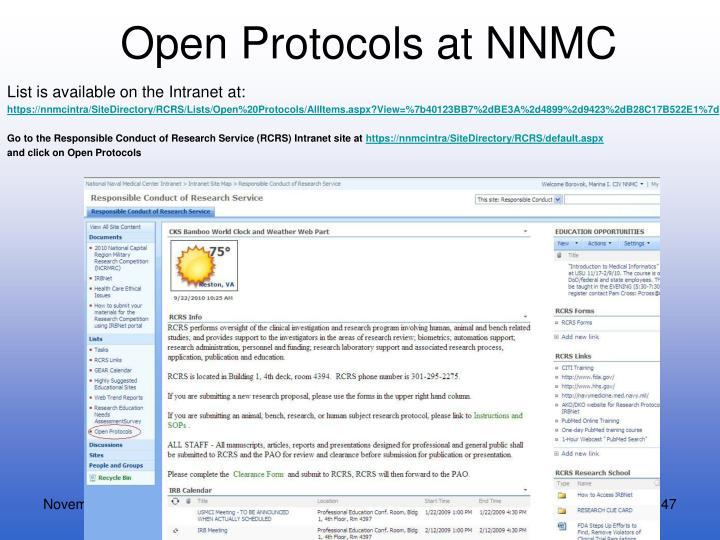 Open Protocols at NNMC