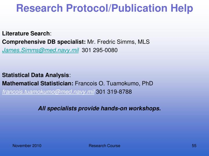 Research Protocol/Publication Help
