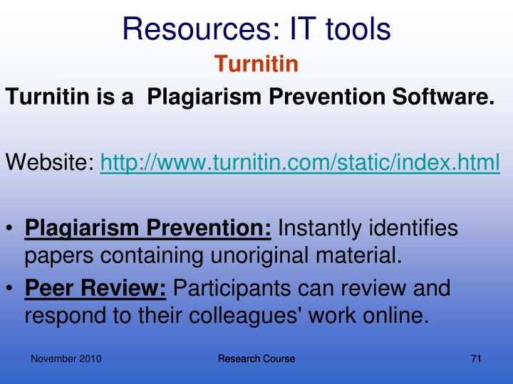 Resources: IT tools