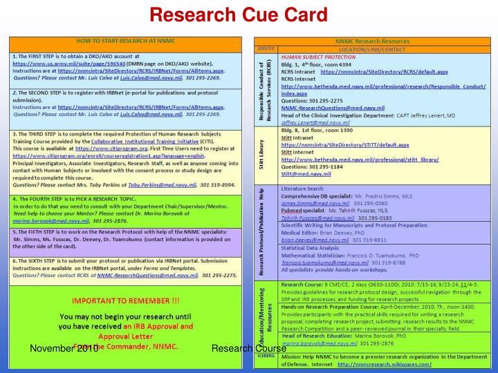 Research Cue Card