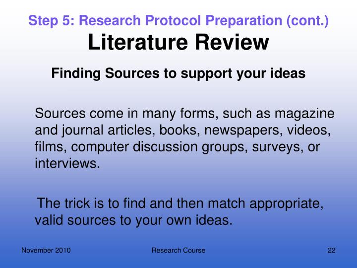 Step 5: Research Protocol Preparation (cont.)