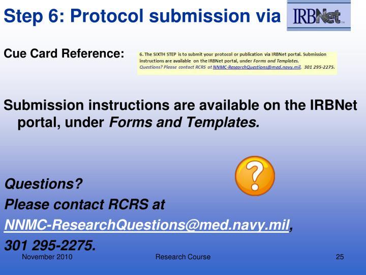 Step 6: Protocol submission via