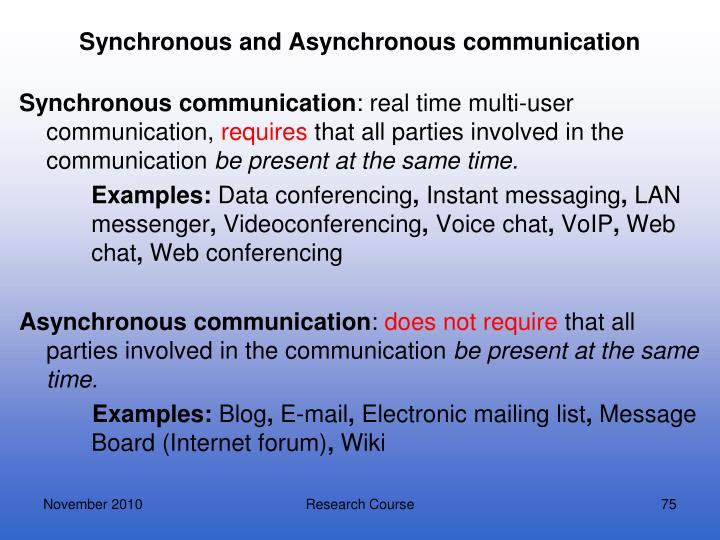 Synchronous and Asynchronous communication