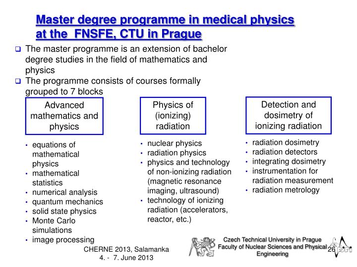 Master degree programme in medical physics
