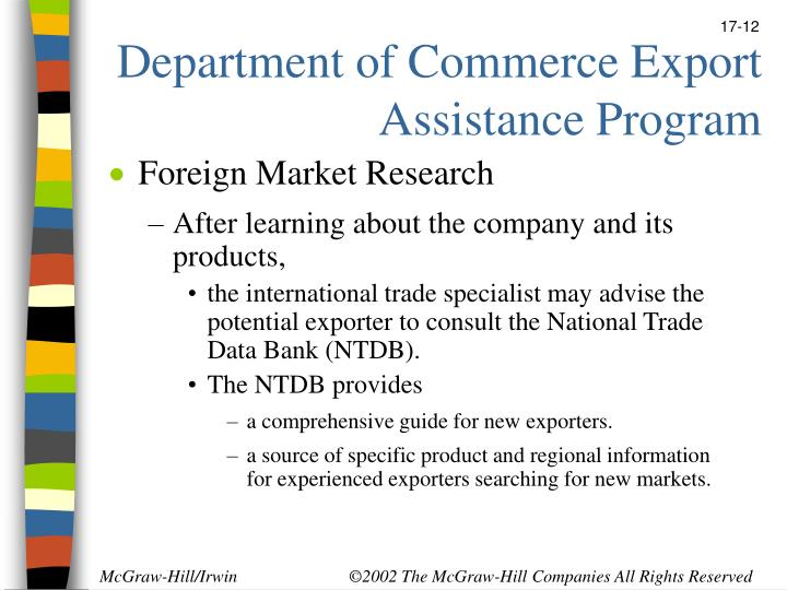 Department of Commerce Export Assistance Program