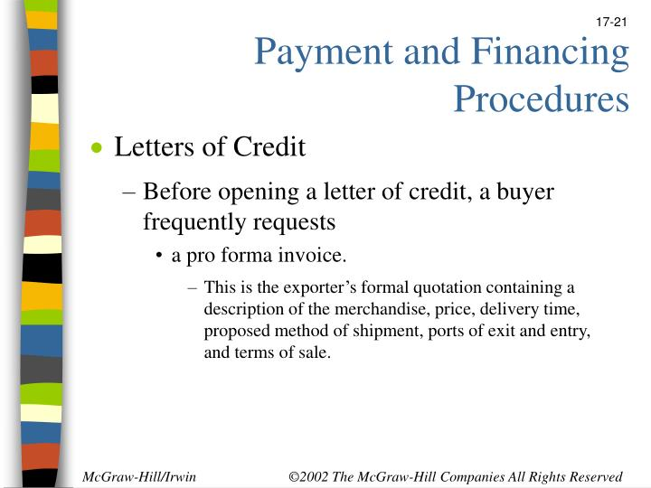 Payment and Financing Procedures