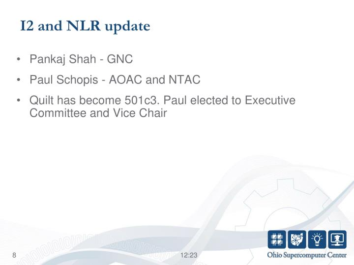 I2 and NLR update