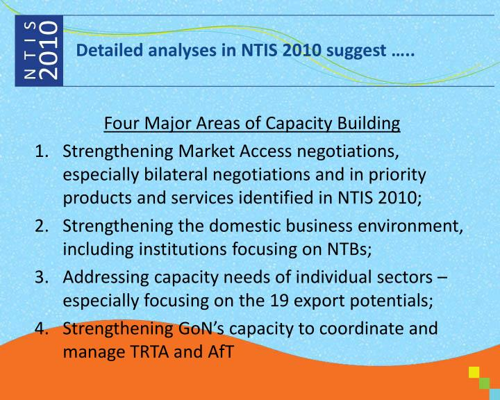 Detailed analyses in NTIS 2010 suggest …..
