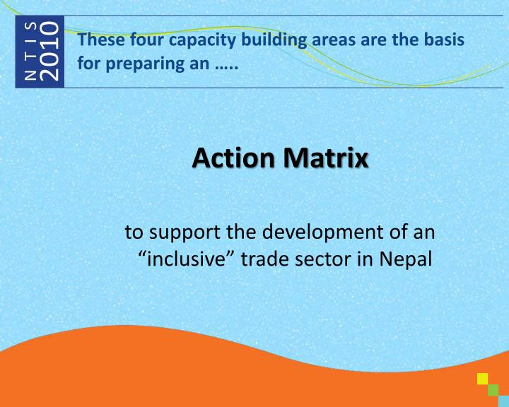 These four capacity building areas are the basis for preparing an …..