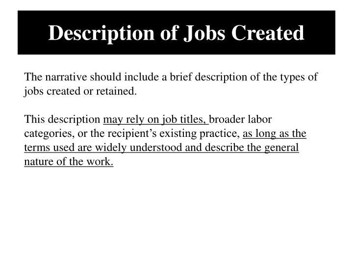 Description of Jobs Created