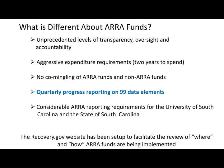 What is Different About ARRA Funds?