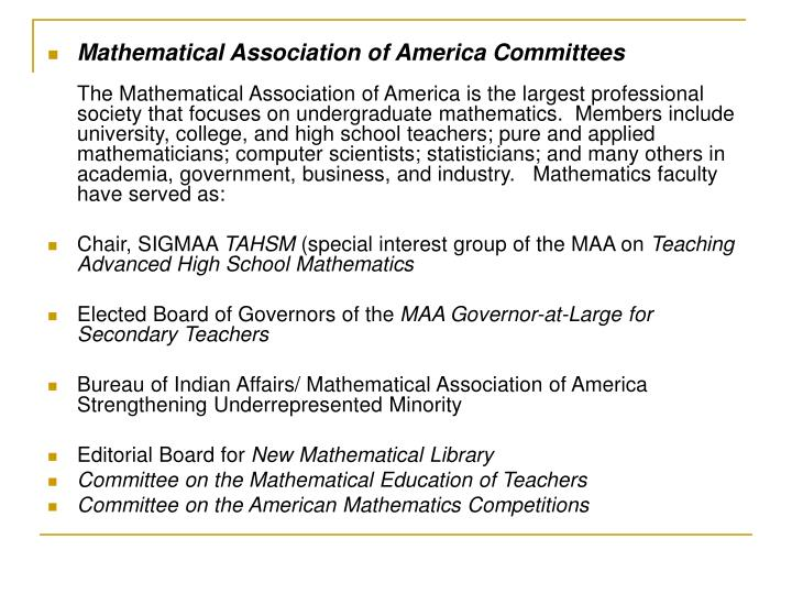 Mathematical Association of America Committees