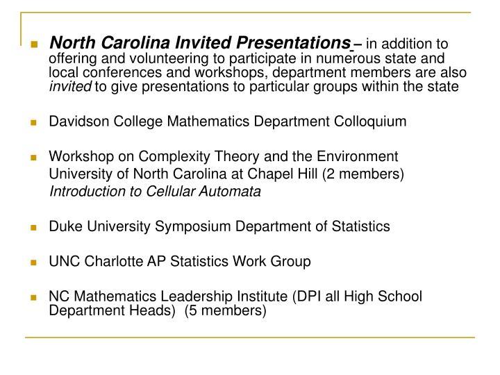 North Carolina Invited Presentations