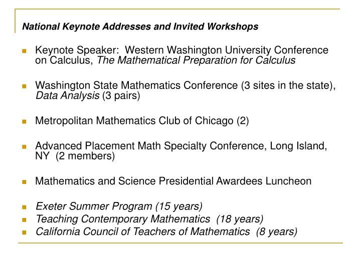 National Keynote Addresses and Invited Workshops