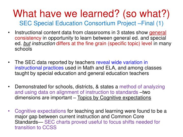 What have we learned? (so what?)