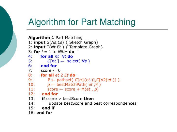 Algorithm for Part Matching