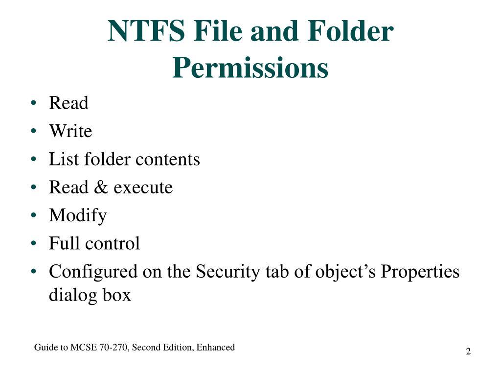 PPT - Managing NTFS Permissions PowerPoint Presentation - ID