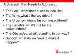 a strategic plan needs to address