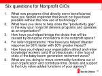 six questions for nonprofit cios