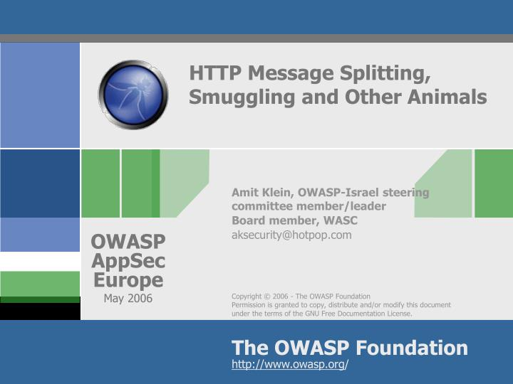 http message splitting smuggling and other animals n.