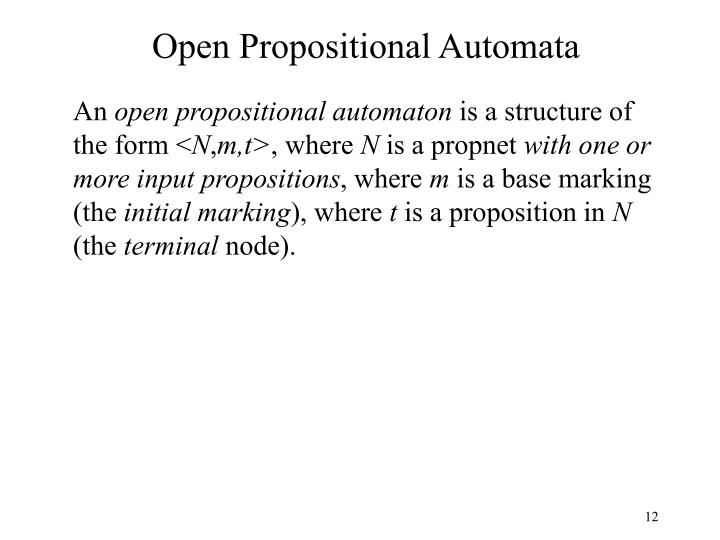 Open Propositional Automata