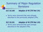 summary of major regulation revisions1