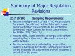 summary of major regulation revisions7