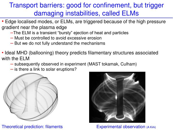 Transport barriers: good for confinement, but trigger damaging instabilities, called ELMs