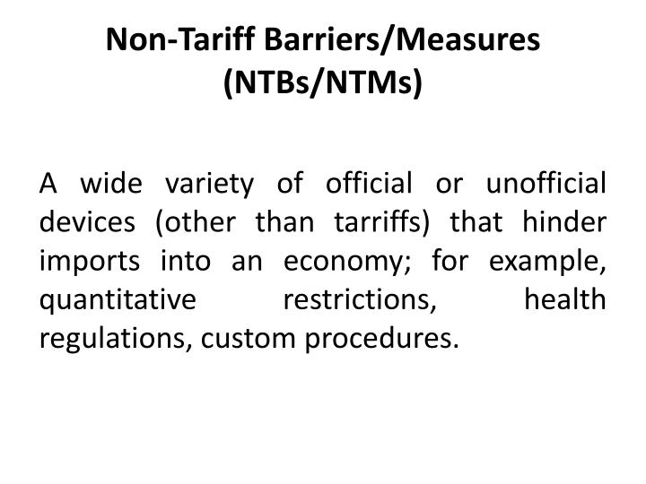 tariff barriers introduction Tariff and non-tariff barriers to trade daniel a sumner, universtiy of california-davis  introduction background round of negotiations were trade and tariff.