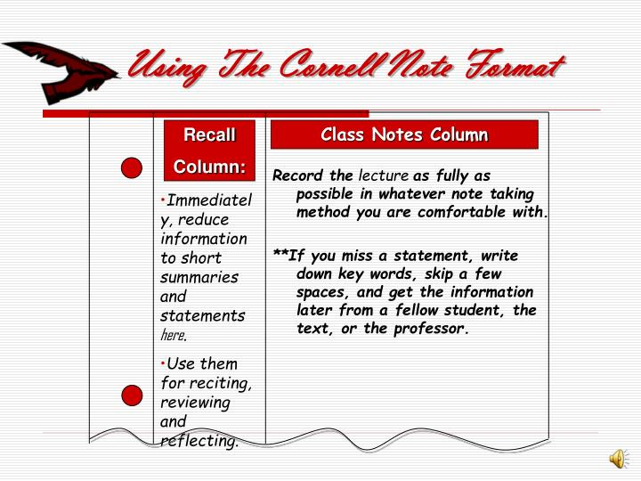 Using The Cornell Note Format